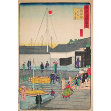 三代目歌川広重: Western Woman and Child at Akashi Bridge, Teppozu - Ronin Gallery