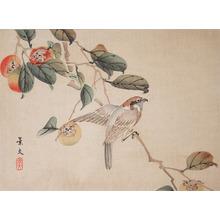 松村景文: Sparrow on Persimmon Branch - Ronin Gallery