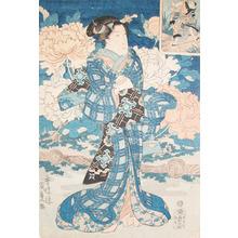 歌川国貞: Bijin in Blue Kimono - Ronin Gallery