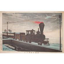 小林清親: American Style Steam Engine: Moon over Takana - Ronin Gallery