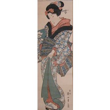 菊川英山: Young Girl in Blue Flower Kimono - Ronin Gallery