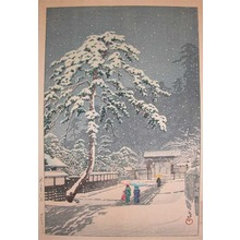 川瀬巴水: Honmonji Temple in Snow - Ronin Gallery