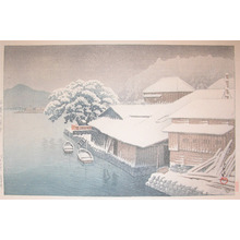 川瀬巴水: Evening Snow at Ishinomaki - Ronin Gallery