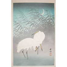 Shoson: Egrets and Crescent Moon - Ronin Gallery