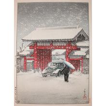 Kawase Hasui: Daimon Gate, Shiba in snow - Ronin Gallery