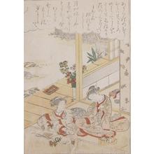 勝川春章: Young girls and Chrysanthumums - Ronin Gallery