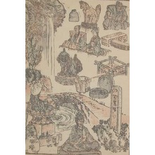Katsushika Hokusai: Waterfall, Rapids and Stone Sculptures - Ronin Gallery