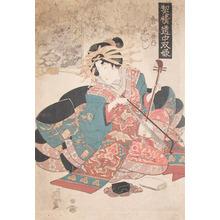 Keisai Eisen: Woman with Samisen: Fukuroi - Ronin Gallery