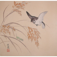 Zaisen: Sparrow, Rice and Grasshopper - Ronin Gallery
