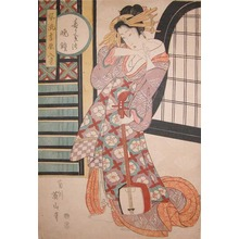 Kikugawa Eizan: Evening Bell: Bijin with Samisen - Ronin Gallery