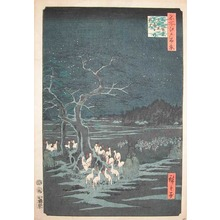 Utagawa Hiroshige: Foxfires on New Year's Eve at Oji - Ronin Gallery
