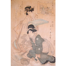 Kikugawa Eizan: Stage 1: Preparing Silk - Ronin Gallery
