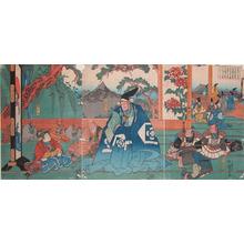 Utagawa Kuniyoshi: Hako-o-maru and Kudo Suketsune at Hikone - Ronin Gallery