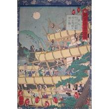 歌川芳艶: Konoshita Sokichiro Building the Fort at Sunomata - Ronin Gallery
