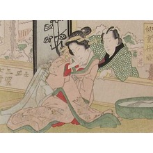 渓斉英泉: Courtesan and Lover by Fish Bowl - Ronin Gallery