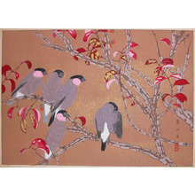 Rakuzan: Early Winter: Pink-necked Finches and Nishikigi - Ronin Gallery