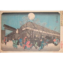 Utagawa Hiroshige: Night Cherry Blossoms at Nakanomachi, Yoshiwara - Ronin Gallery