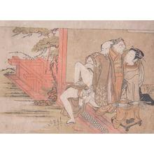 磯田湖龍齋: A Courtesan, Her Lover and an Attendant - Ronin Gallery