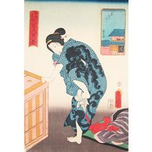 Utagawa Kunisada: Yagenbori: Bathing with Octopus Kimono - Ronin Gallery