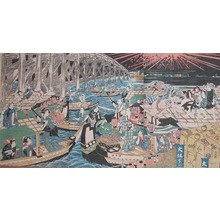 Utagawa Kuniyasu: Fireworks Above Bridge - Ronin Gallery