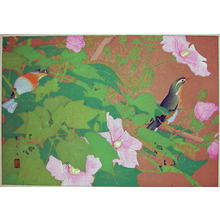 Rakuzan: Early Autumn; Red Cotton Rose and Red-billed Leiot - Ronin Gallery