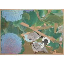 Rakuzan: Mid Summer; Hydrangea and Doves - Ronin Gallery