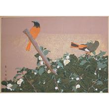 Rakuzan: Winter; Tea Flower and Japanese Finch - Ronin Gallery