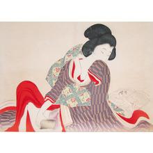 Tomioka Eisen: Girl with Dildo - Ronin Gallery