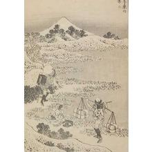 Katsushika Hokusai: Travelers: Fuji from Senzoku - Ronin Gallery