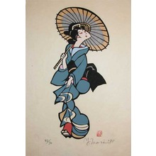 森義利: Bijin with Umbrella - Ronin Gallery