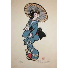 森義利: Bijin with Umbrella - Ronin Gallery