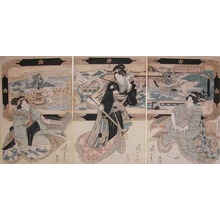 Kikugawa Eizan: Beauties and Music: Picture of Dazaifu Tenmangu - Ronin Gallery