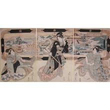 Kikugawa Eizan: Beauties and Music: Picture of Dazaifu Tenmangu - Ronin Gallery