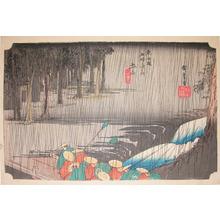 歌川広重: Rain at Tsuchiyama - Ronin Gallery