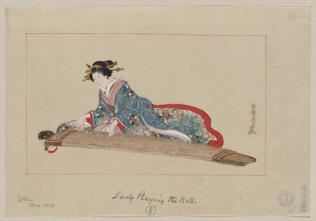 月岡雪鼎: Lady playing the koto - アメリカ議会図書館 ... Lady