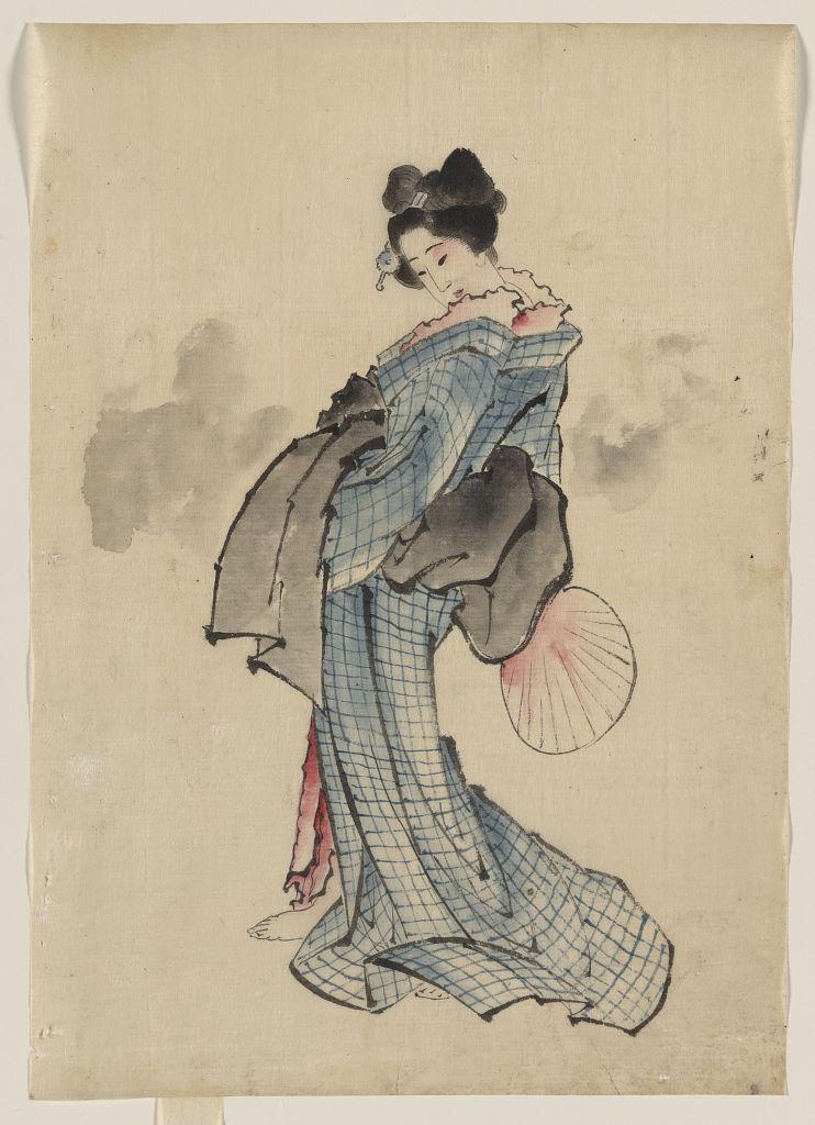 Katsushika Hokusai: [Woman, full-length portrait, standing ... Hokusai Woman