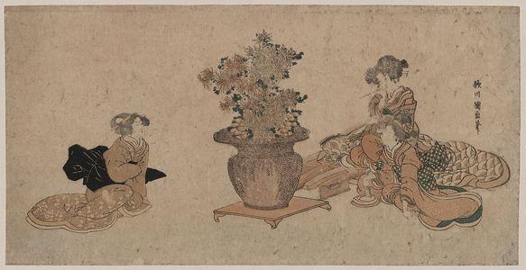 Utagawa Kuninao: Three beauties admiring an arrangement of rikka flowers. - アメリカ議会図書館