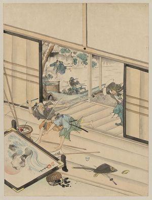 無款: [Jūichidanme - act eleven of the Chūshingura - assualt on Kira Yoshinaka's home - pursuing the guards] - アメリカ議会図書館