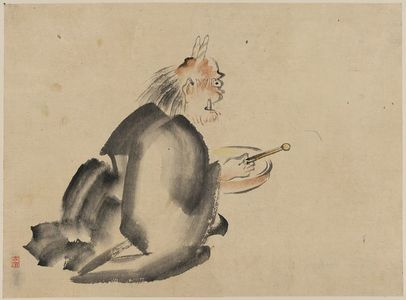 無款: [A monk wearing mask(?) with horns, sitting on the ground, beating a drum] - アメリカ議会図書館