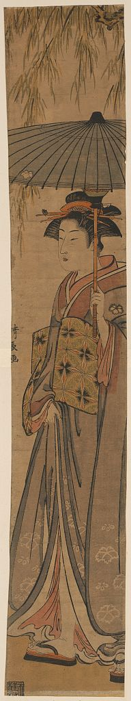 Torii Kiyonaga: Beauty under a willow tree. - Library of Congress