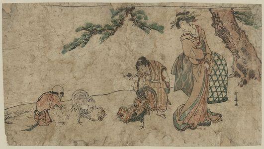 Teisai Hokuba: Cockfight under a pine tree. - Library of Congress