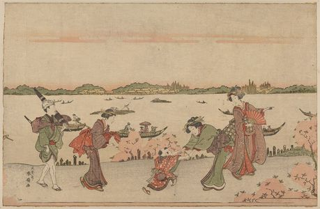 Katsukawa Shunsen: Cherry blossom viewing in Mimeguri. - Library of Congress