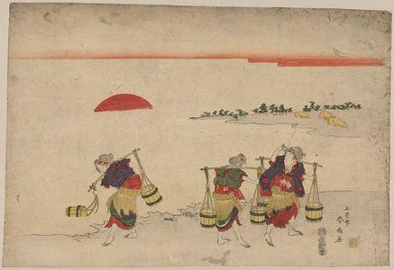 Katsukawa Shunsen: Salt gathering. - Library of Congress