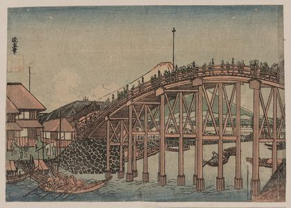 Utagawa Kuninao: View of Mount Fuji from Nihonbashi. - Library of Congress