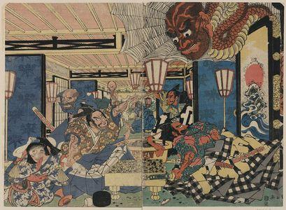 Utagawa Kuninaga: Raikō Shitennō [Minamoto Yorimitsu] and the earth spider. - Library of Congress