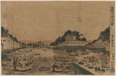 Utagawa Toyoharu: Perspective view of enjoying the evening cool in Fukagawa. - Library of Congress