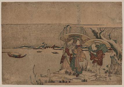菊川英山: Entertainers from Setchu in the snow. - アメリカ議会図書館