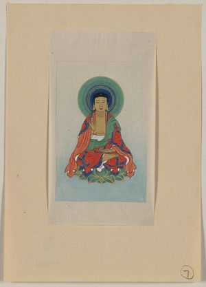 Unknown: [Religious figure, possibly Buddha, sitting on a lotus, facing front, with blue/green halo behind his head] - Library of Congress