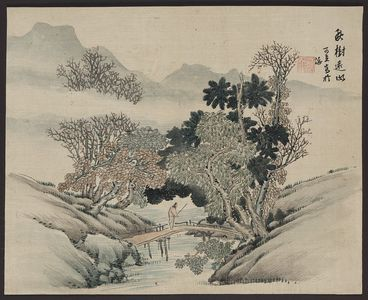 無款: [A man crossing a bridge beneath overhanging trees] - アメリカ議会図書館