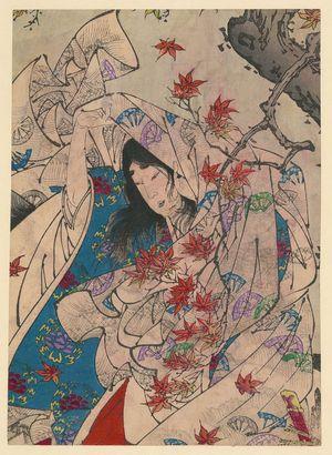 月岡芳年: Autumn moon over Sumiyoshi. - アメリカ議会図書館